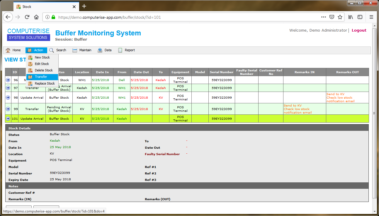 Stock Buffer Monitoring System